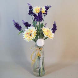 Artificial Flower Arrangements | Lemon Yellow Gerberas and Lavender - GLV001 7B