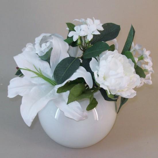 Artificial Flower Arrangements White Lilies and Stephanotis - LIL002 7A