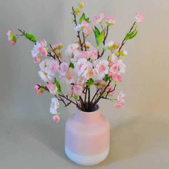 Artificial Flower Arrangement | Pink Blossom in Pink Vase - BLV003 1C
