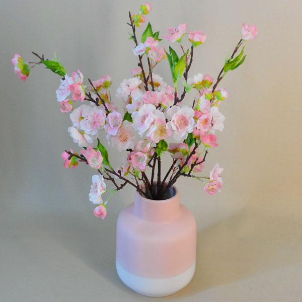 Artificial Flower Arrangements Pink Blossom In Pink Ceramic Vase