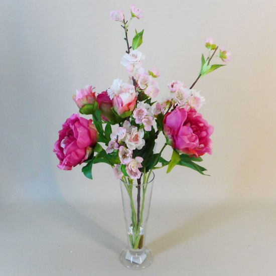 Artificial Flower Arrangement | Peonies and Blossom Vase - PEO011 7C