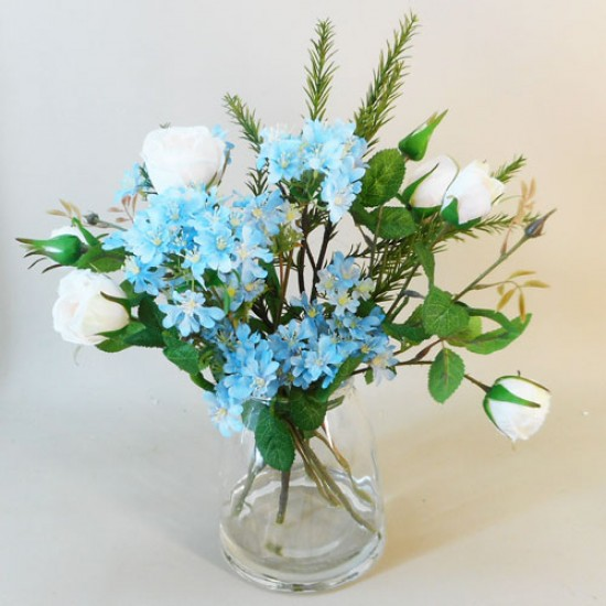 Artificial Flower Arrangement Pink Roses and Blue Wild Flowers - ROS011 2A