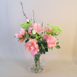 Artificial Flower Arrangements | Pink Roses and Dill Flowers - ROS041 1C