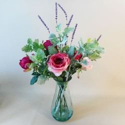 Artificial Flower Arrangements | Pink Roses and Peonies - ROS065 2A