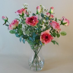 Rose and Wax Flowers Clearwater Vase Arrangement Mid Pink - ROS017 2B
