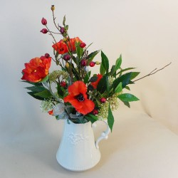 Artificial Flower Arrangements | Poppies and Berries in Jug - POP006 6E