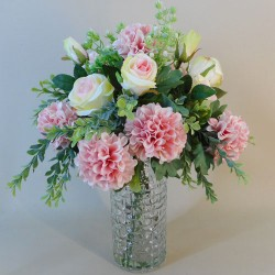 Artificial Flower Arrangement Roses and Chrysanthemums Pink - ROS023 1A
