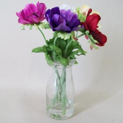 Artificial Flower Arrangements | Silk Anemones in Milk Bottle Vase - AV004 1B