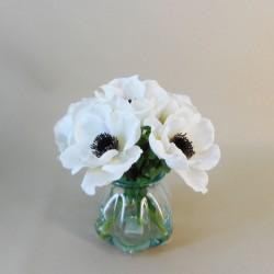 White Anemones Vase | Silk Flower Arrangements - ANE004 3D