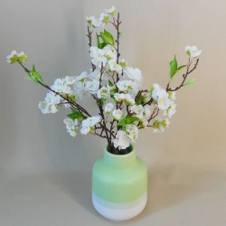 Artificial Flower Arrangement | White Blossom in Green Vase - BLV002 1C
