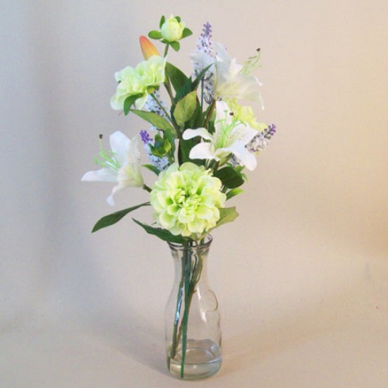 Artificial Flower Arrangements | White Lilies Zinnias and Lavender - LIL016 7C