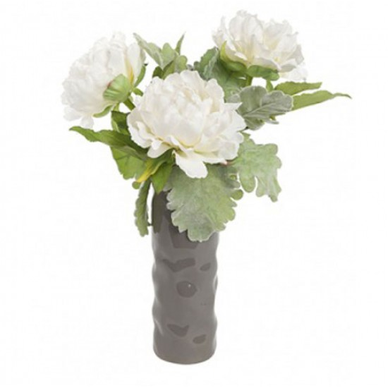 Artificial Flower Arrangement | White Peonies and Dusty Miller - PEV004 1D