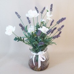 Artificial Flower Arrangements | White Poppies and Lavender - POP002 1C