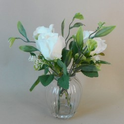Artificial Flower Arrangements | White Roses and Greenery - ROS082 5D