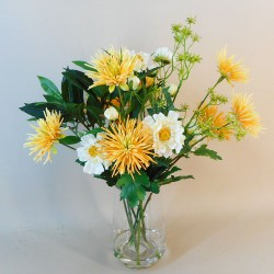 Artificial Flower Arrangements Yellow Spider Mums and Coronariums - MUM001 2B