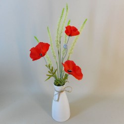 Artificial Flower Arrangements | Red Poppies and Cats Tails - POP004 6D