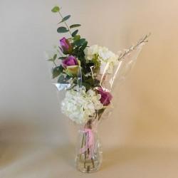 Artificial Flower Arrangement | White Hydrangeas and Pink Roses - HYD011 2B