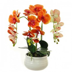 Artificial Phalaenopsis Orchid Plants Orange - ORC008 7B
