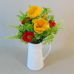 Artificial Flower Arrangements | Mixed Poppies in White Jug - POP005 5C