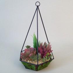 Artificial Succulents Terrarium Red Green - SUC005 3A