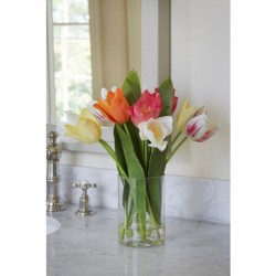 Artificial Flower Arrangements | Assorted Tulips in Cylinder Vase | SPECIAL PURCHASE - TUL003 6E