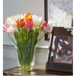 Artificial Flower Arrangements | Assorted Tulips in Glass Urn Vase | SPECIAL PURCHASE - TUL002 7