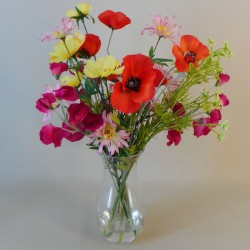 Artificial Flower Arrangement | Summer Garden Flowers in Glass Vase | SPECIAL PURCHASE - GAR003 5E