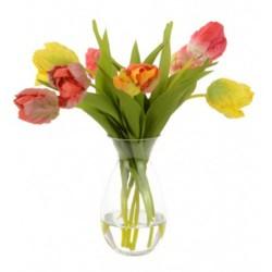 Artificial Flower Arrangements   Assorted Tulips in Glass Vase - TUL007 5C