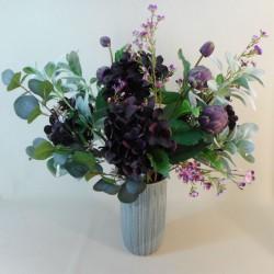 Statement Artificial Flower Arrangement | Aubergine Hydrangeas and Globe Artichokes - HYD007