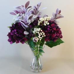 Statement Artificial Flower Arrangement   Aubergine Hydrangeas and Berries - HYD008