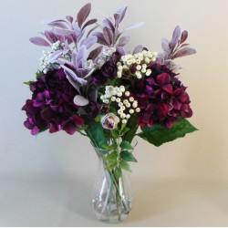 Statement Artificial Flower Arrangement | Aubergine Hydrangeas and Berries - HYD008 5A