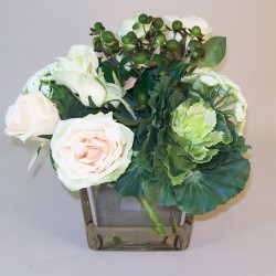 Artificial Flower Arrangements | Avalanche Roses and Cabbages in Cube Vase - ROS044 5B