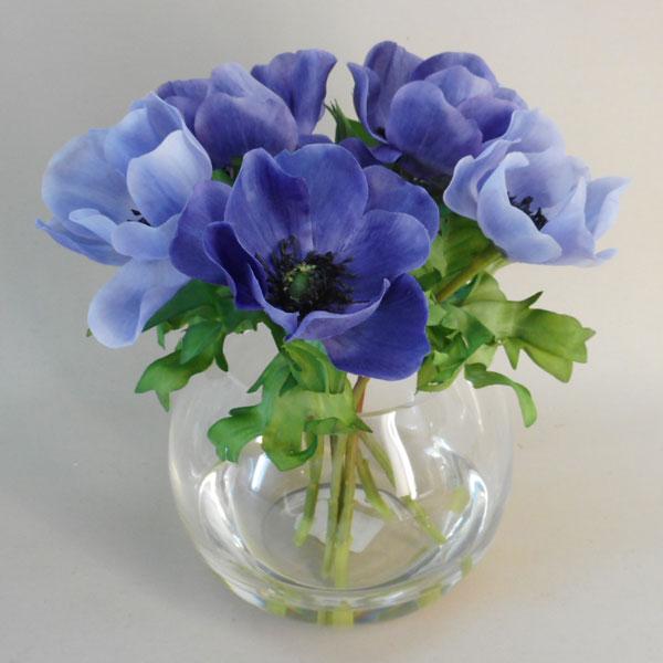 Blue Anemone Fish Bowl Artificial Flower Arrangements