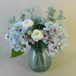 Centerpiece Arrangement | Blue Hydrangeas in Recycled Glass Vase - HYD004 2B