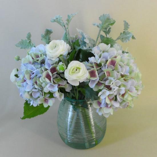 Centerpiece Arrangement | Blue Hydrangeas in Recycled Glass Vase - HYD004 2B