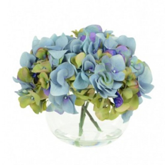 Blue Hydrangeas In Fish Bowl Artificial Flower Arrangement