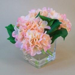 Centerpiece Arrangement | Peach and Pink Artificial Hydrangeas in Cube Vase - HYD005 6E