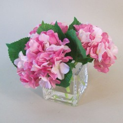 Centerpiece Arrangement | Pink Artificial Hydrangeas in Cube Vase - HYD006 6D