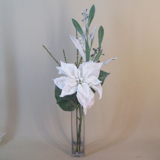 Artificial Flower Arrangements | Frosted Poinsettia and Mimosa Vase - 16X134 FR 2C