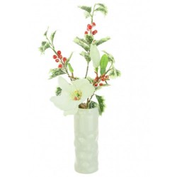 Artificial Flower Arrangements | Frosted Magnolia and Holly Vase - 16X133 - FR 1B
