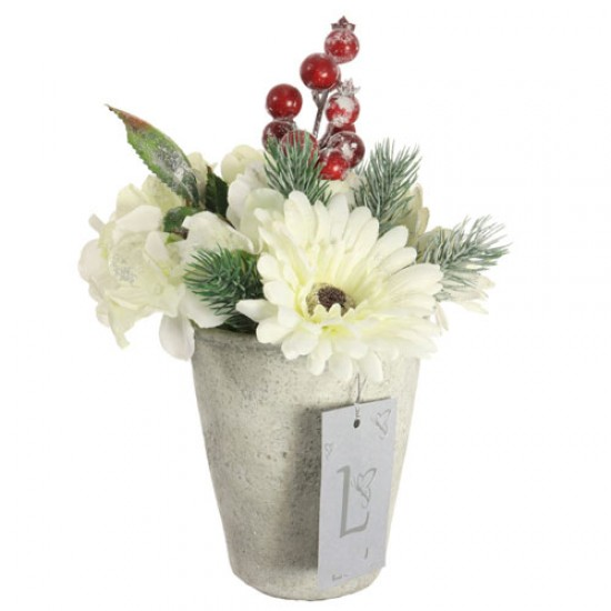 Artificial Flower Arrangements | Cream Flowers and Red Berries in Stone Pot - 18X084 FR 2B