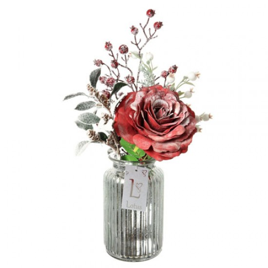 Artificial Flower Arrangements | Red Rose and Berries in Silver Vase - 17X134 FR 2C