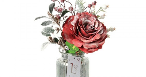 Artificial Flower Arrangements Red Rose And Berries In Silver Vase