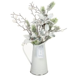 Christmas Flower Arrangements | Snow Covered Greenery in White Jug - 18X082 - FR 1D