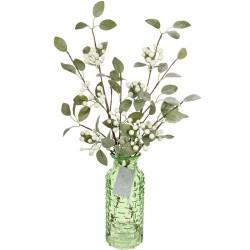 Christmas Flower Arrangements | White Snow Berries in Green Glass Vase - 18X080 - FR1D