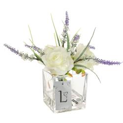 Christmas Flower Arrangements | Cream Glitter Roses and Lavender - 18X089 - FR 1B