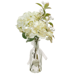 Artificial Flower Arrangements | Cream Hydrangeas in Bottle Vase - 18X100 FR 2A