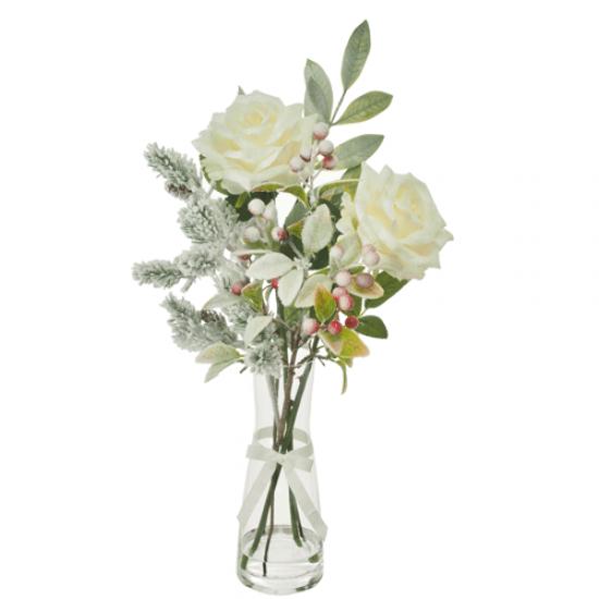 Artificial Flower Arrangements | Cream Roses Berries and Snow Pine in Carafe Vase - 18X091 FR 2C