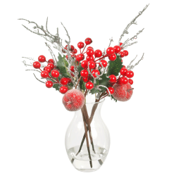 Christmas Flower Arrangements | Red Berries and Frosted Apples in Glass Vase - 18X094 - FR 1A