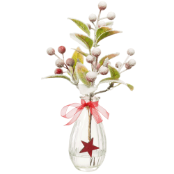 Christmas Flower Arrangements | Red Berries in Clear Glass Vase - 18X098 - FR 1B